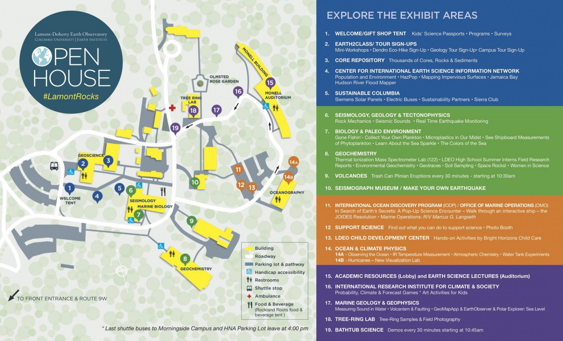 map of Open House exhibit areas