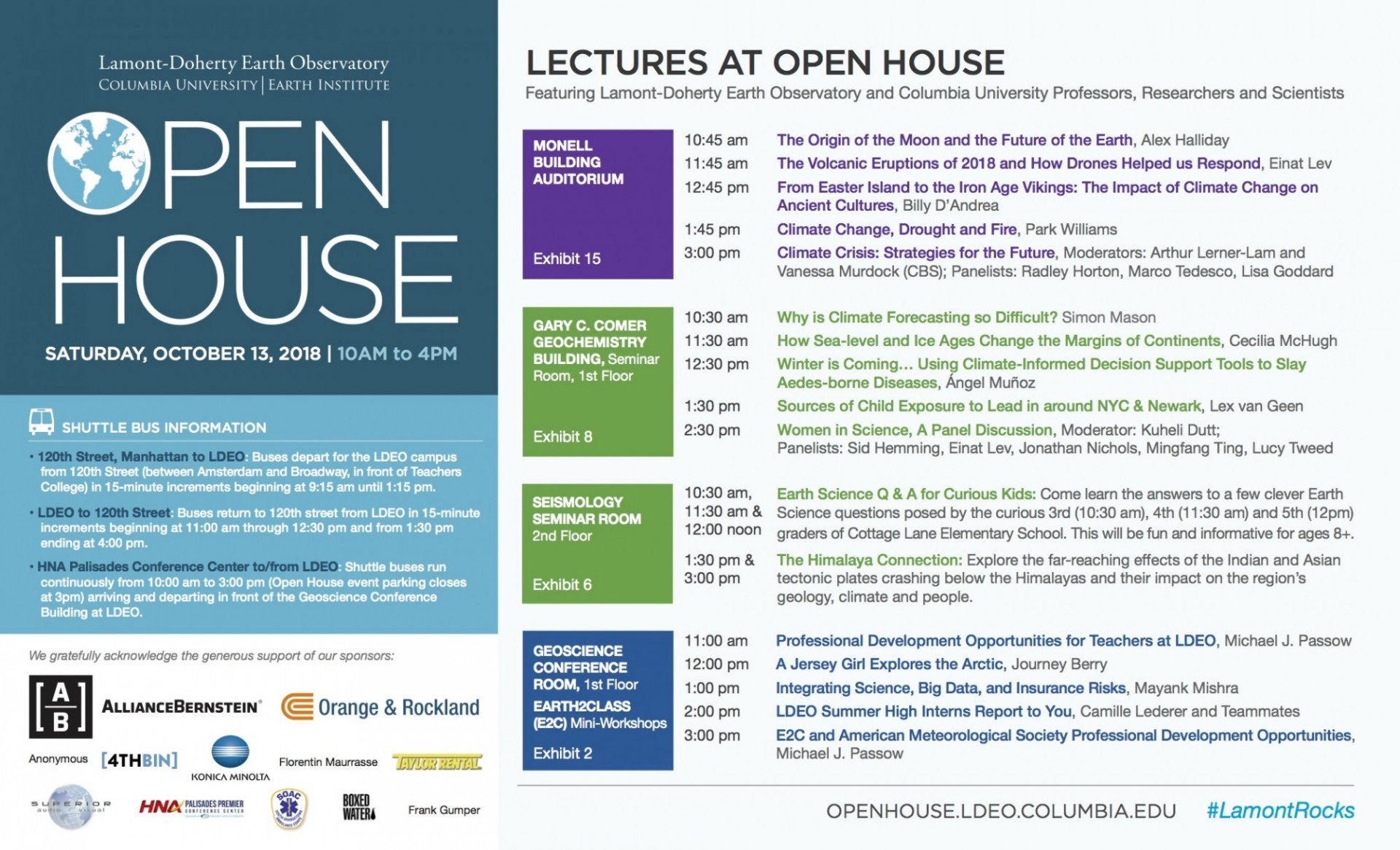 Open House visual lecture schedule 2018