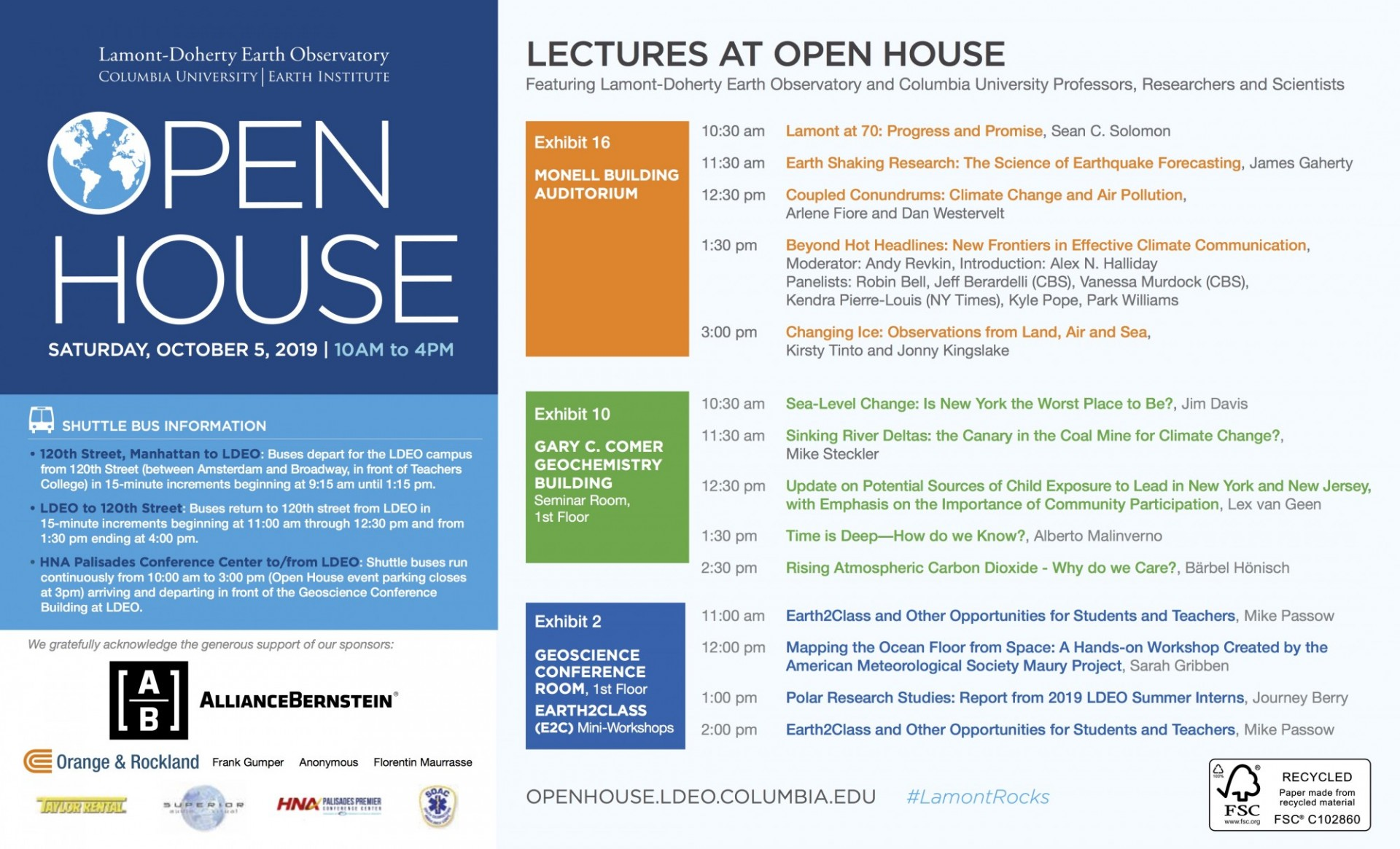 Open House 2019 Lecture Schedule