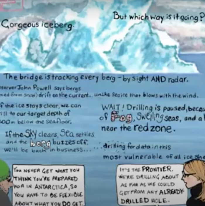 still from a video showing a drawing of scientists and an iceberg