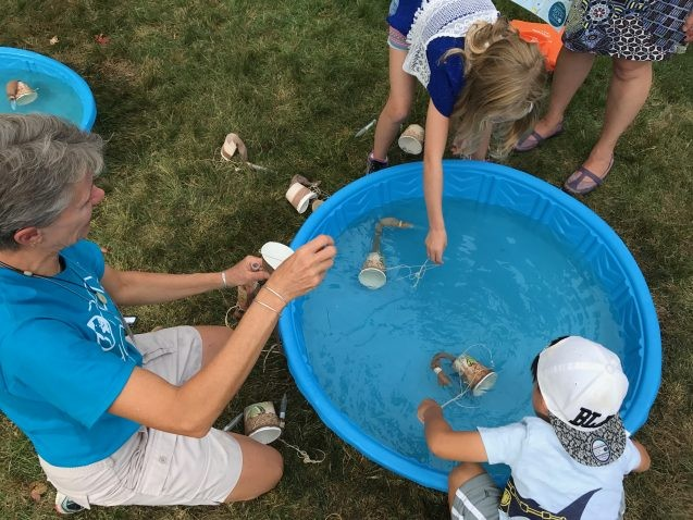 children fishing for plankton in a plastic pool