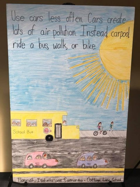 "children's drawing of buses, cars and bikes that reads ""Use cars less often. Cars create lots of air pollution. Instead, carpool, ride a bus, walk, or bike."""
